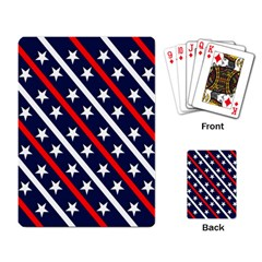 Patriotic Red White Blue Stars Playing Card by Celenk