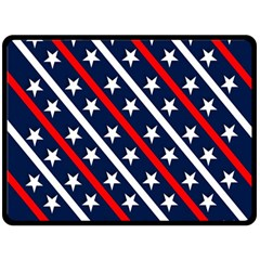 Patriotic Red White Blue Stars Double Sided Fleece Blanket (large)  by Celenk