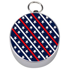 Patriotic Red White Blue Stars Silver Compasses by Celenk