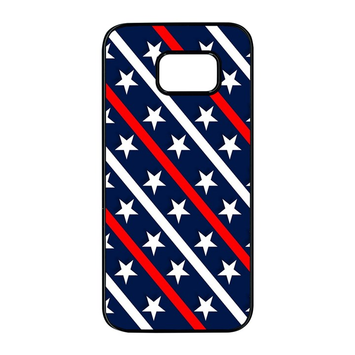 Patriotic Red White Blue Stars Samsung Galaxy S7 edge Black Seamless Case
