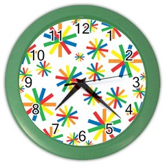 Celebrate Pattern Colorful Design Color Wall Clocks