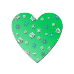 Snowflakes Winter Christmas Overlay Heart Magnet by Celenk