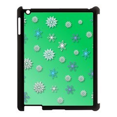 Snowflakes Winter Christmas Overlay Apple Ipad 3/4 Case (black) by Celenk