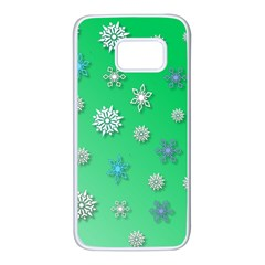 Snowflakes Winter Christmas Overlay Samsung Galaxy S7 White Seamless Case by Celenk