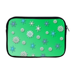 Snowflakes Winter Christmas Overlay Apple Macbook Pro 17  Zipper Case by Celenk