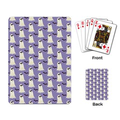 Bat And Ghost Halloween Lilac Paper Pattern Playing Card by Celenk