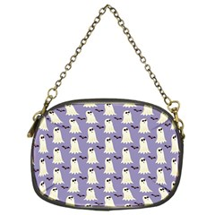 Bat And Ghost Halloween Lilac Paper Pattern Chain Purses (one Side)  by Celenk