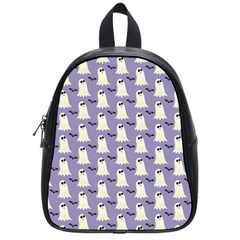 Bat And Ghost Halloween Lilac Paper Pattern School Bag (small) by Celenk