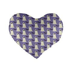 Bat And Ghost Halloween Lilac Paper Pattern Standard 16  Premium Heart Shape Cushions by Celenk
