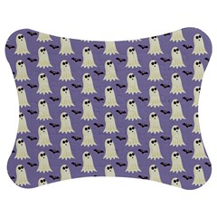 Bat And Ghost Halloween Lilac Paper Pattern Jigsaw Puzzle Photo Stand (bow) by Celenk