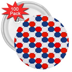 Geometric Design Red White Blue 3  Buttons (100 Pack)  by Celenk