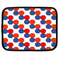 Geometric Design Red White Blue Netbook Case (large) by Celenk