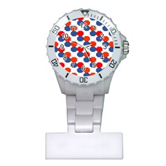 Geometric Design Red White Blue Plastic Nurses Watch by Celenk