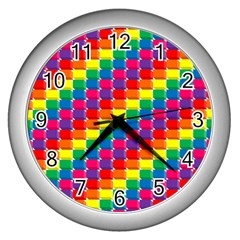 Rainbow 3d Cubes Red Orange Wall Clocks (silver)  by Celenk