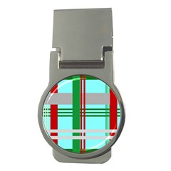 Christmas Plaid Backgrounds Plaid Money Clips (round)  by Celenk