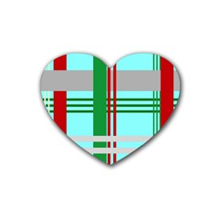 Christmas Plaid Backgrounds Plaid Rubber Coaster (heart)