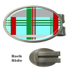 Christmas Plaid Backgrounds Plaid Money Clips (oval)  by Celenk