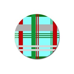 Christmas Plaid Backgrounds Plaid Magnet 3  (round) by Celenk