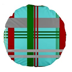 Christmas Plaid Backgrounds Plaid Large 18  Premium Round Cushions by Celenk