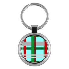 Christmas Plaid Backgrounds Plaid Key Chains (round)