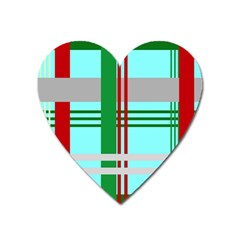 Christmas Plaid Backgrounds Plaid Heart Magnet by Celenk