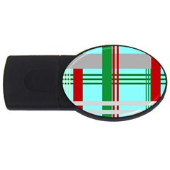 Christmas Plaid Backgrounds Plaid Usb Flash Drive Oval (2 Gb) by Celenk