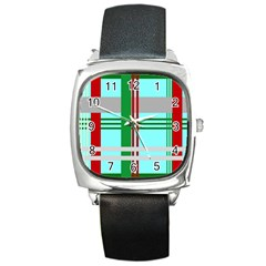 Christmas Plaid Backgrounds Plaid Square Metal Watch by Celenk