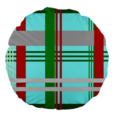 Christmas Plaid Backgrounds Plaid Large 18  Premium Flano Round Cushions by Celenk