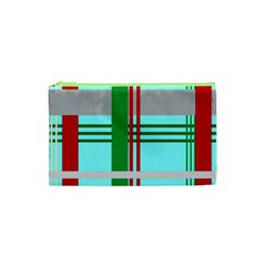 Christmas Plaid Backgrounds Plaid Cosmetic Bag (xs) by Celenk