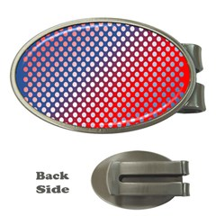 Dots Red White Blue Gradient Money Clips (oval)