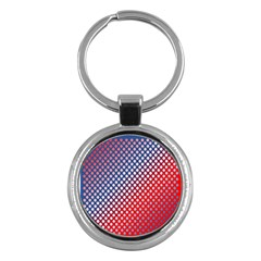 Dots Red White Blue Gradient Key Chains (round)  by Celenk
