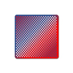 Dots Red White Blue Gradient Square Magnet
