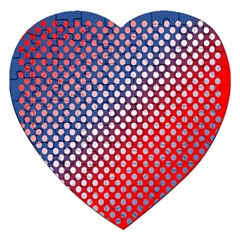 Dots Red White Blue Gradient Jigsaw Puzzle (heart) by Celenk