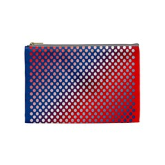 Dots Red White Blue Gradient Cosmetic Bag (medium)  by Celenk