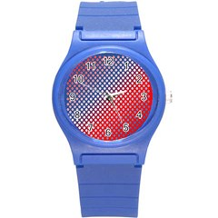 Dots Red White Blue Gradient Round Plastic Sport Watch (s) by Celenk