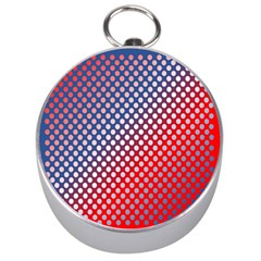 Dots Red White Blue Gradient Silver Compasses by Celenk