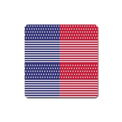 American Flag Patriot Red White Square Magnet