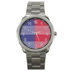 American Flag Patriot Red White Sport Metal Watch by Celenk