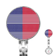American Flag Patriot Red White Stainless Steel Nurses Watch