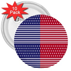 American Flag Patriot Red White 3  Buttons (10 Pack)