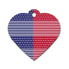 American Flag Patriot Red White Dog Tag Heart (two Sides) by Celenk