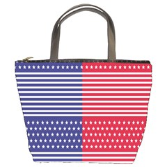 American Flag Patriot Red White Bucket Bags by Celenk