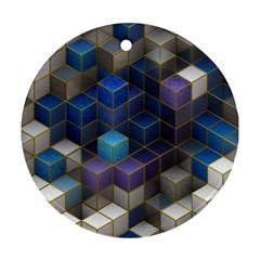 Cube Cubic Design 3d Shape Square Ornament (round) by Celenk