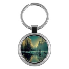 Yosemite Park Landscape Sunrise Key Chains (round)