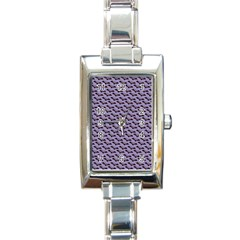 Bat Halloween Lilac Paper Pattern Rectangle Italian Charm Watch by Celenk