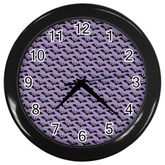 Bat Halloween Lilac Paper Pattern Wall Clocks (black)