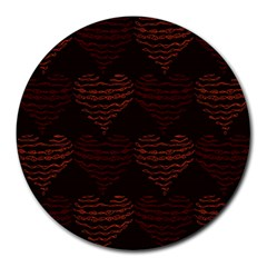 Heart Seamless Background Figure Round Mousepads by Celenk