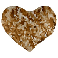 Texture Background Backdrop Brown Large 19  Premium Flano Heart Shape Cushions by Celenk