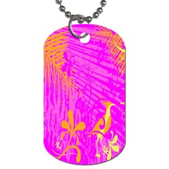 Spring Tropical Floral Palm Bird Dog Tag (two Sides) by Celenk