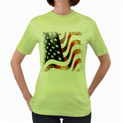 Usa Flag America American Women s Green T Shirt